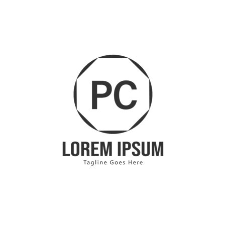 Initial PC logo template with modern frame. Minimalist PC letter logo vector illustration