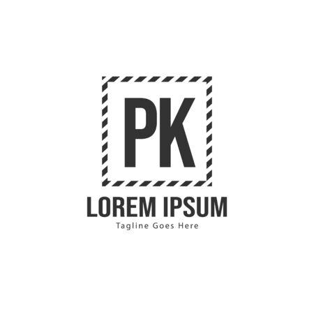 Initial PK logo template with modern frame. Minimalist PK letter logo vector illustration Banco de Imagens - 131471248