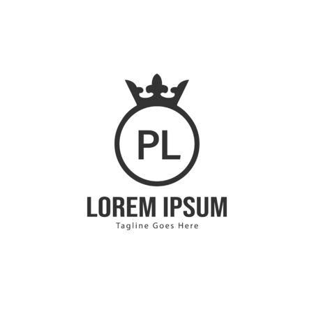 Initial PL logo template with modern frame. Minimalist PL letter logo vector illustration Banco de Imagens - 131471643