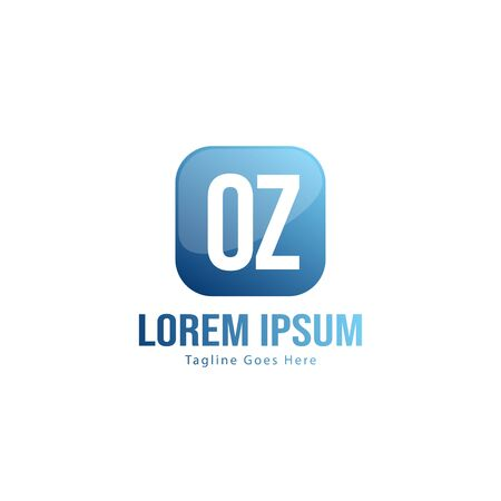 Initial OZ logo template with modern frame. Minimalist OZ letter logo vector illustration Banco de Imagens - 131472858