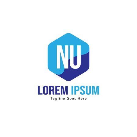 Initial NU logo template with modern frame. Minimalist NU letter logo vector illustration Banco de Imagens - 131472854
