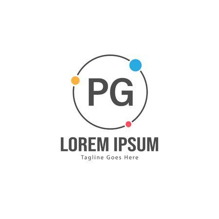 Initial PG logo template with modern frame. Minimalist PG letter logo vector illustration Ilustração