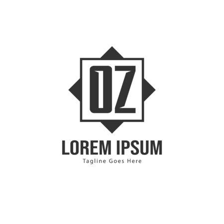Initial OZ logo template with modern frame. Minimalist OZ letter logo vector illustration