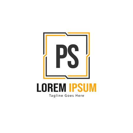 Initial PS logo template with modern frame. Minimalist PS letter logo vector illustration