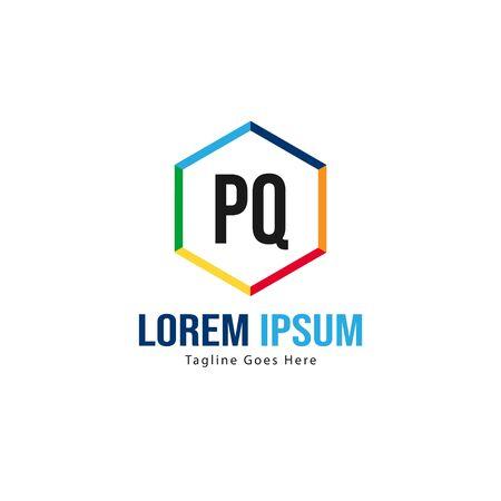 Initial PQ logo template with modern frame. Minimalist PQ letter logo vector illustration Banco de Imagens - 131473700