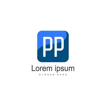 Initial PP logo template with modern frame. Minimalist PP letter logo vector illustration Ilustração