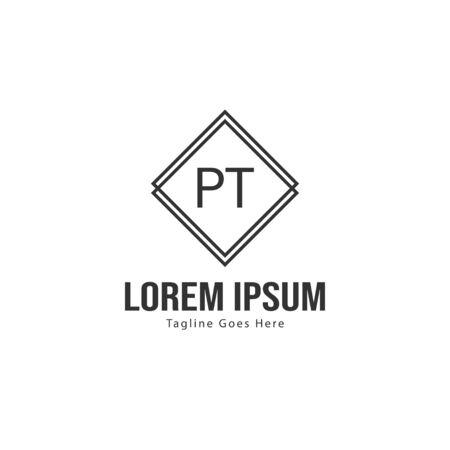 Initial PT logo template with modern frame. Minimalist PT letter logo vector illustration Banco de Imagens - 131473713