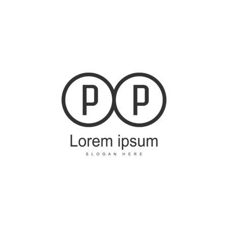 Initial PP logo template with modern frame. Minimalist PP letter logo vector illustration Banco de Imagens - 131474199