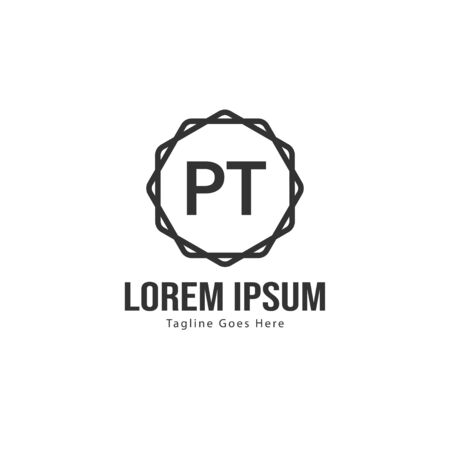 Initial PT logo template with modern frame. Minimalist PT letter logo vector illustration Banco de Imagens - 131474202