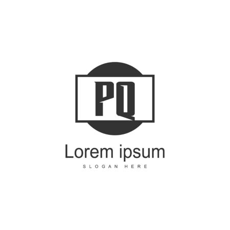 Initial PQ logo template with modern frame. Minimalist PQ letter logo vector illustration