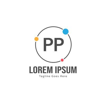 Initial PP logo template with modern frame. Minimalist PP letter logo vector illustration Иллюстрация