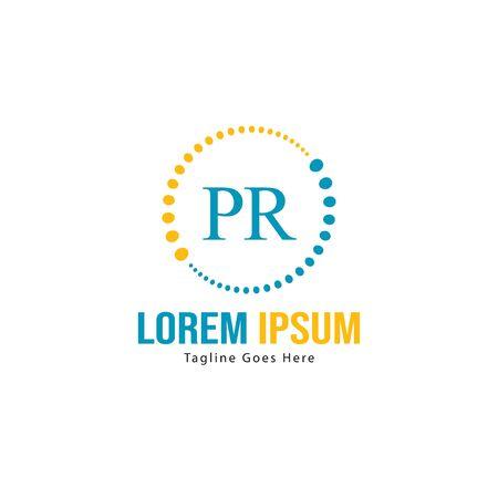 Initial PR logo template with modern frame. Minimalist PR letter logo vector illustration