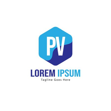 Initial PV logo template with modern frame. Minimalist PV letter logo vector illustration