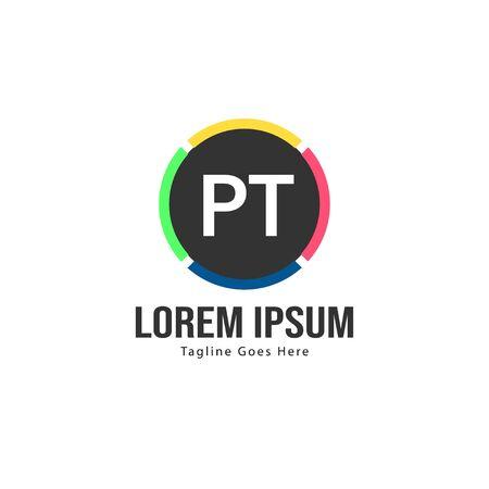 Initial PT logo template with modern frame. Minimalist PT letter logo vector illustration Logó