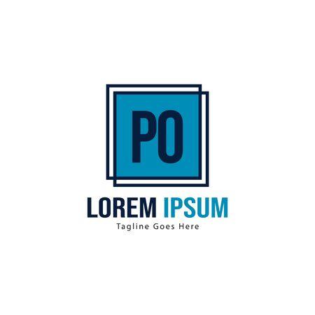Initial PO logo template with modern frame. Minimalist PO letter logo vector illustration