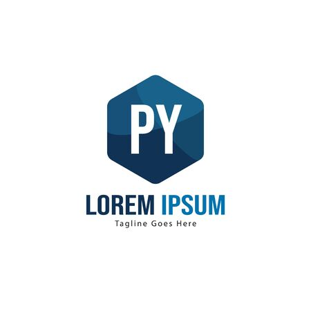 Initial PY logo template with modern frame. Minimalist PY letter logo vector illustration
