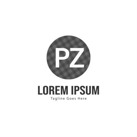 Initial PZ logo template with modern frame. Minimalist PZ letter logo vector illustration Иллюстрация