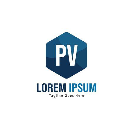 Initial PV logo template with modern frame. Minimalist PV letter logo vector illustration Иллюстрация