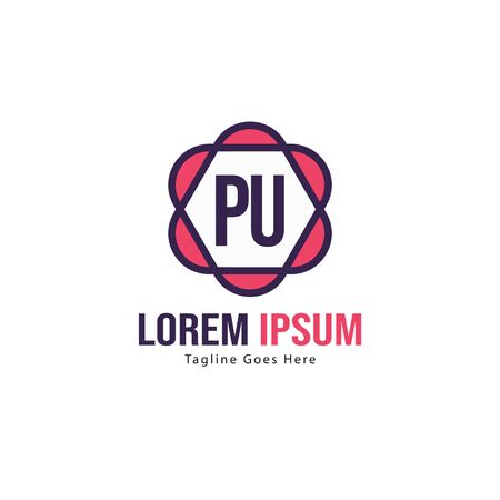 Initial PU logo template with modern frame. Minimalist PU letter logo vector illustration