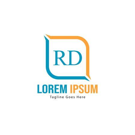 Initial RD logo template with modern frame. Minimalist RD letter logo vector illustration Logó