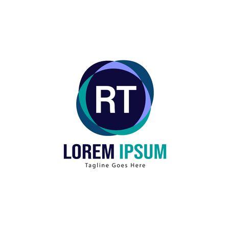Initial RT logo template with modern frame. Minimalist RT letter logo vector illustration Logó