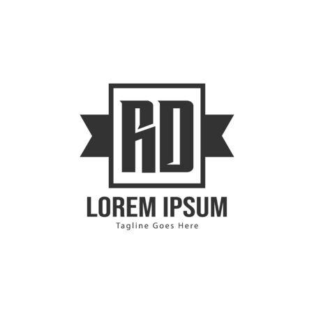 Initial RD logo template with modern frame. Minimalist RD letter logo vector illustration Zdjęcie Seryjne - 128822658