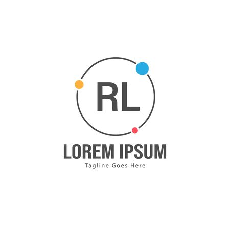 Initial RL logo template with modern frame. Minimalist RL letter logo vector illustration