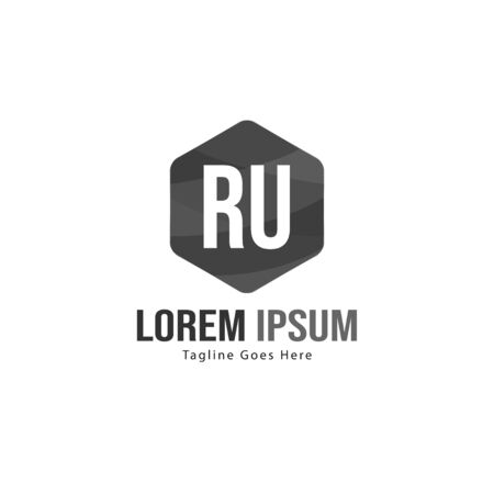 Initial RU logo template with modern frame. Minimalist RU letter logo vector illustration