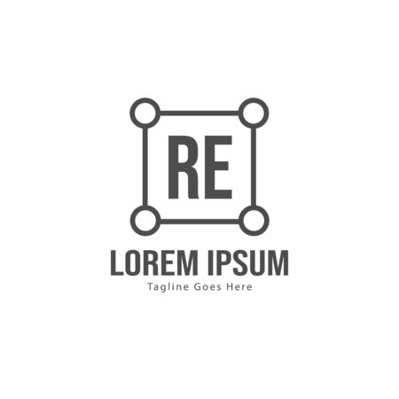 Initial RE logo template with modern frame. Minimalist RE letter logo vector illustration