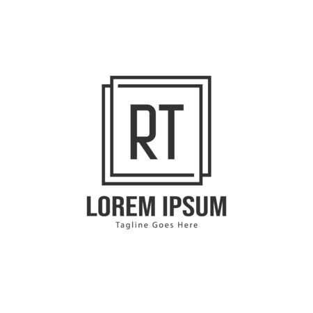 Initial RT logo template with modern frame. Minimalist RT letter logo vector illustration Zdjęcie Seryjne - 128822877