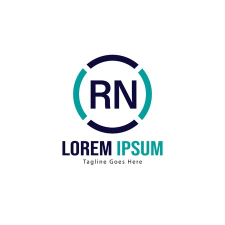 Initial RN logo template with modern frame. Minimalist RN letter logo vector illustration