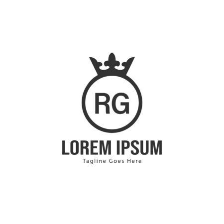 Initial RG logo template with modern frame. Minimalist RG letter logo vector illustration