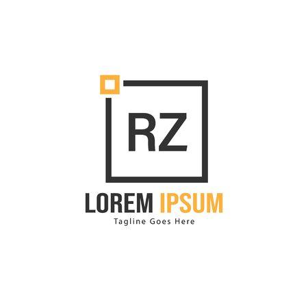 Initial RZ logo template with modern frame. Minimalist RZ letter logo vector illustration Zdjęcie Seryjne - 128823531