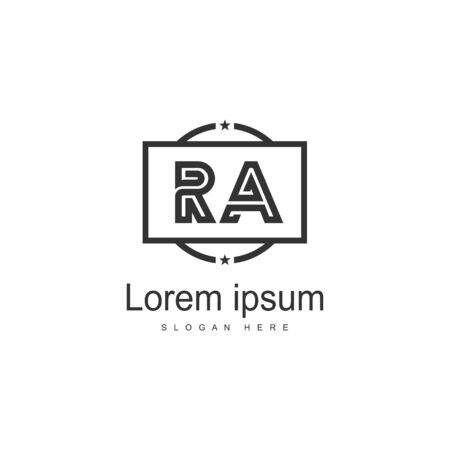 Initial RA logo template with modern frame. Minimalist RA letter logo vector illustration Logo