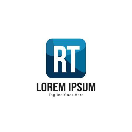 Initial RT logo template with modern frame. Minimalist RT letter logo vector illustration