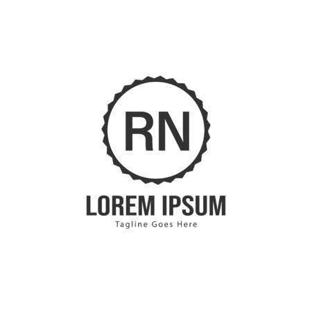 Initial RN logo template with modern frame. Minimalist RN letter logo vector illustration
