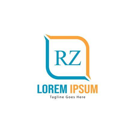 Initial RZ logo template with modern frame. Minimalist RZ letter logo vector illustration