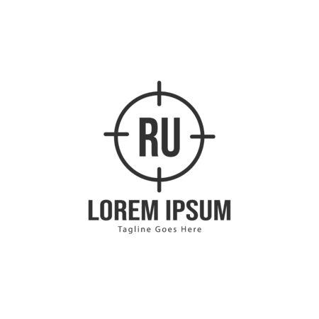 Initial RU logo template with modern frame. Minimalist RU letter logo vector illustration Logó