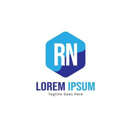 Initial RN logo template with modern frame. Minimalist RN letter logo vector illustration Logo