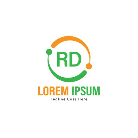 Initial RD logo template with modern frame. Minimalist RD letter logo vector illustration Stock Illustratie