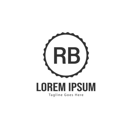 Initial RB logo template with modern frame. Minimalist RB letter logo vector illustration