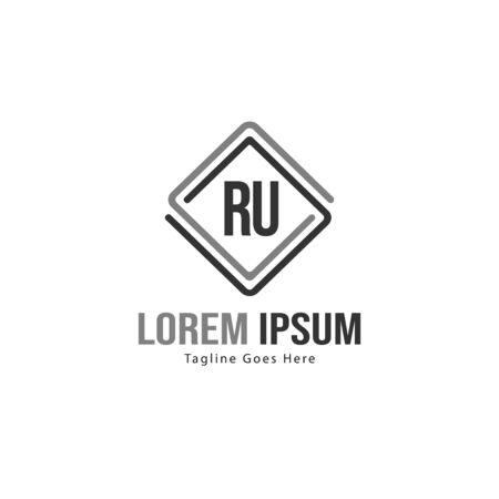 Initial RU logo template with modern frame. Minimalist RU letter logo vector illustration