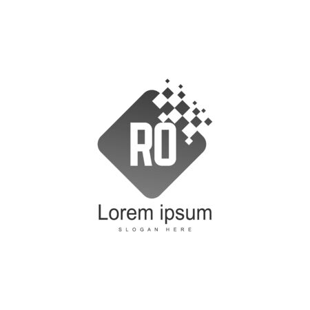 Initial RO logo template with modern frame. Minimalist RO letter logo vector illustration