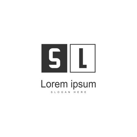 Initial SL logo template with modern frame. Minimalist SL letter logo vector illustration