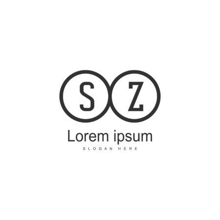 Initial SZ logo template with modern frame. Minimalist SZ letter logo vector illustration