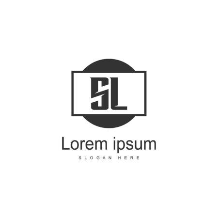 Initial SL logo template with modern frame. Minimalist SL letter logo vector illustration Logó