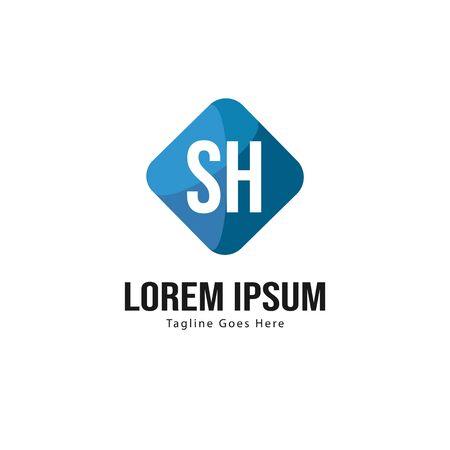 Initial SH logo template with modern frame. Minimalist SH letter logo vector illustration Illusztráció