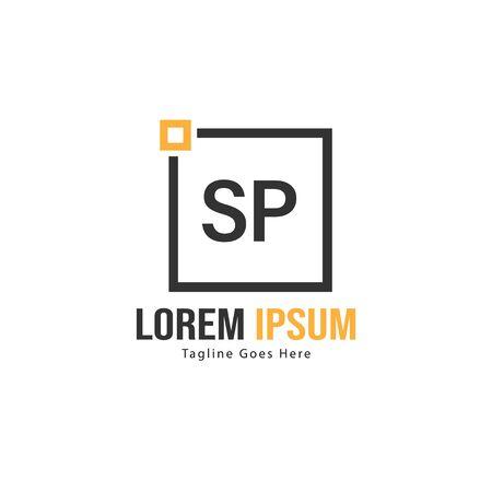 Initial SP logo template with modern frame. Minimalist SP letter logo vector illustration