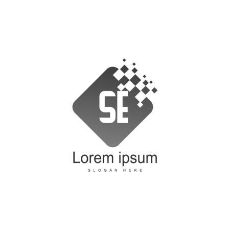 Initial SE logo template with modern frame. Minimalist SE letter logo vector illustration