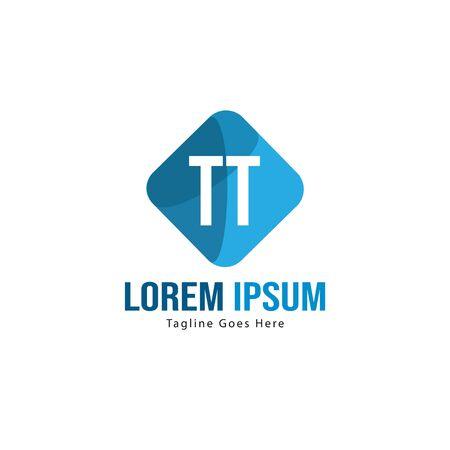 Initial TT logo template with modern frame. Minimalist TT letter logo vector illustration